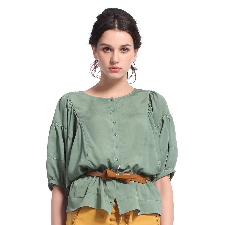 女式中袖衬衫_ochirly 欧时力 复古雪纺纯色圆领中袖衬衫 女式 灰绿