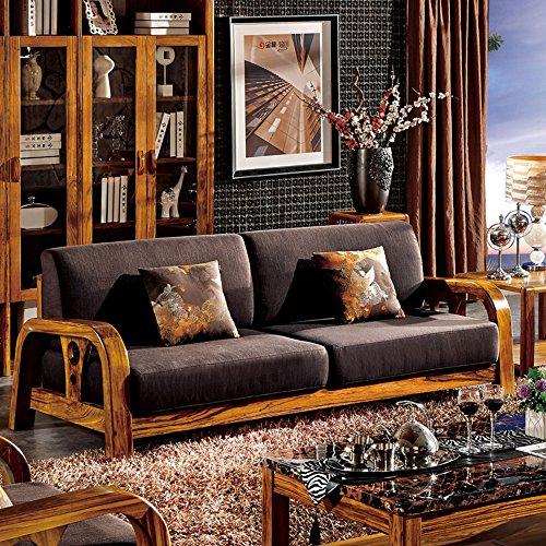 惠宜 尊贵乌金木沙发 现代中式沙发 温馨布艺沙发 客厅组合沙发 hy