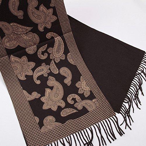 yasn 元心 男士围巾100%澳洲羊毛秋冬保暖加厚舒适雕版印花商务专柜