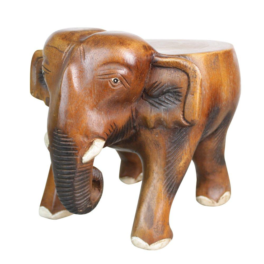 爱居品 泰国工艺品 木雕大象 时尚家具 小象板凳 花架