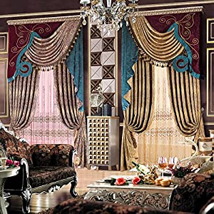 摩尔登 加厚提花欧式客厅别墅高档窗帘 成品宽1米*高2.7米一片