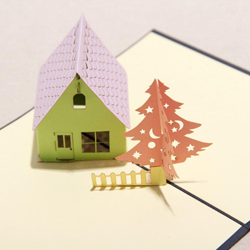礼道 房子和树手工创意立体圣诞情人节生日纸雕明信片