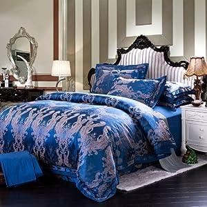 白玉兰 新款欧式奢华丝棉提花四件套 200x230cm 尊荣孔雀蓝