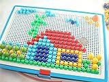 HABIBI 蘑菇钉 益智巧巧钉 拼图  插珠拼图插板 插板玩具 智力拼插296粒 积木 儿童玩具-图片