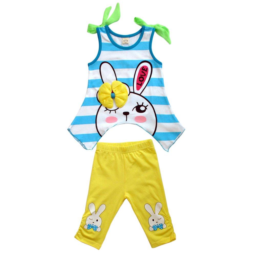璐璇 夏款宽条小兔系列14513006男款宝宝t恤套装 蓝纹白底 120