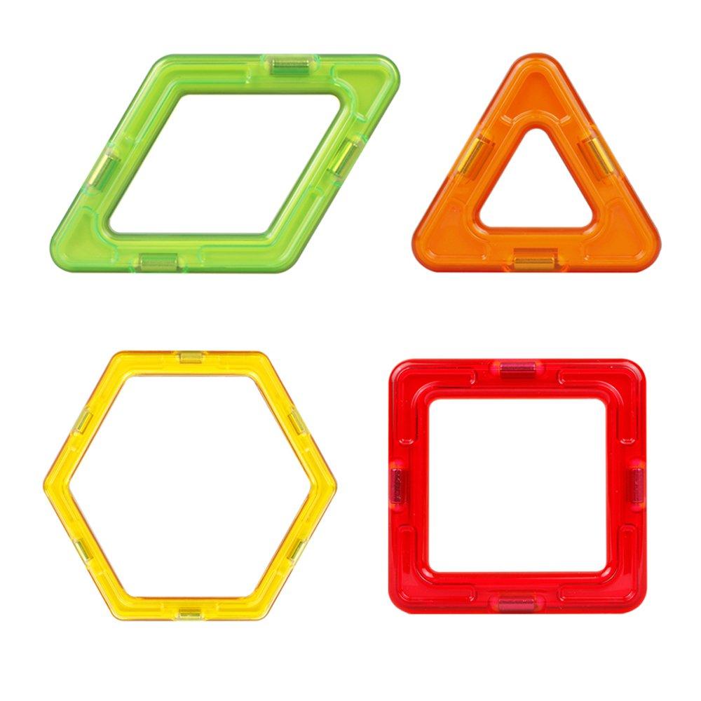 丸子宝贝 磁力片儿童益智玩具 四角片 三角片 早教积木散件 梯形(颜色