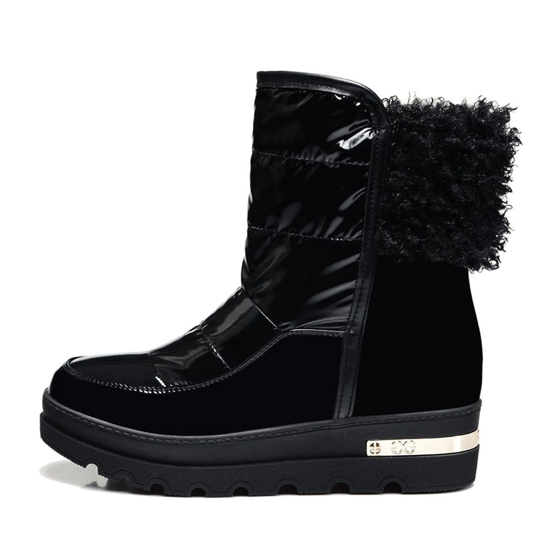 皮毛一体雪地靴女厚底内增高