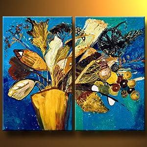 唯佳艺术 纯手绘油画 两拼组合花卉装饰画无框画 挂画