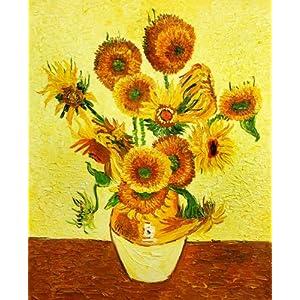 厘米印象纯手绘油画梵高名作临摹作品《向日葵》-- 纯