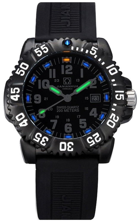 嘉年华手表 氚气自发光夜光男士手表 潜水级防水精钢户外登山运动男表