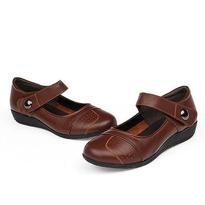 中老年女鞋老人防滑舒适平跟平底真皮搭扣式
