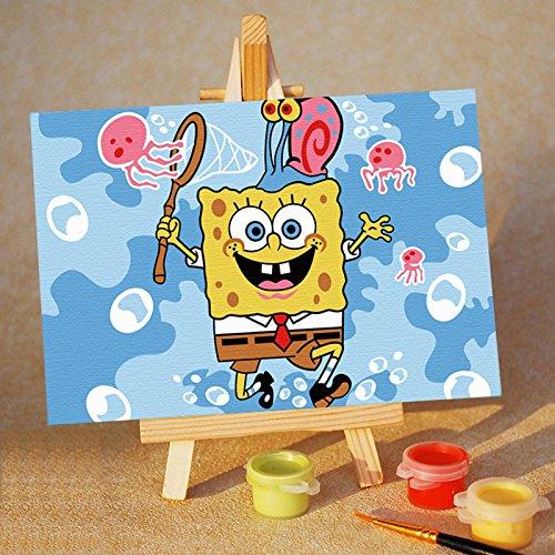 真心意diy数字油画手绘卡通动漫海绵宝宝儿童填色画m1015148捕鱼的