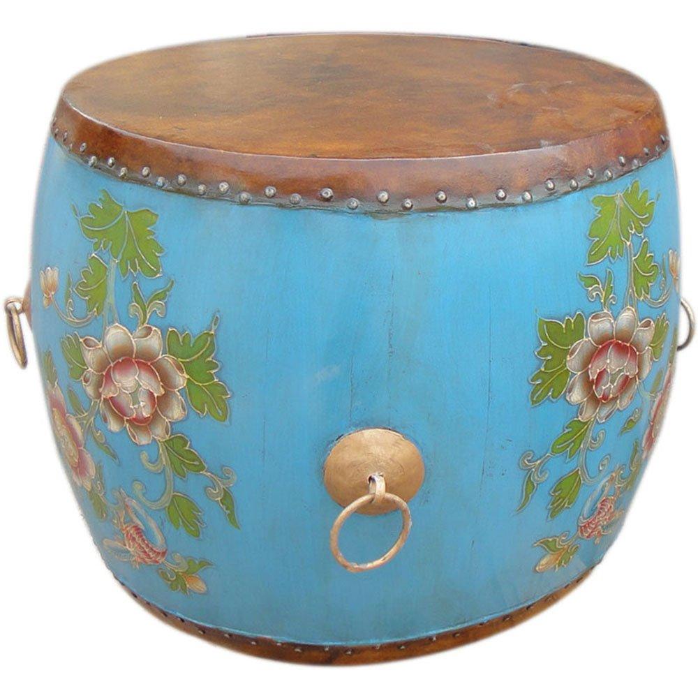 百林坛 中式彩绘漆画圆形小茶几咖啡桌子 民族牛皮乐器鼓 创意餐桌台