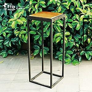 吉祥家新中式铁艺木质花架[簌静]简约时尚落地小花几室内客厅阳台 (大
