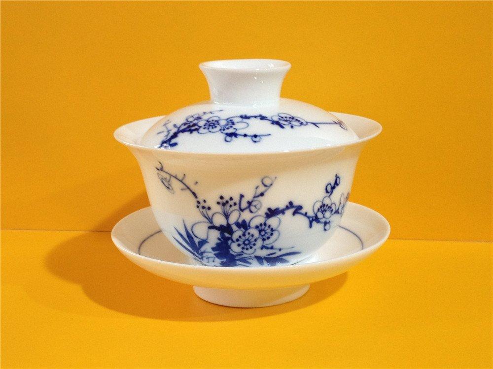手绘 青花瓷 盖碗茶杯 功夫茶杯 (梅花 /150ml)