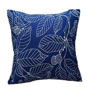 > 致惠 中式现代高档布艺加厚印花帆布抱枕 沙发靠垫靠枕 树叶 (蓝色图片