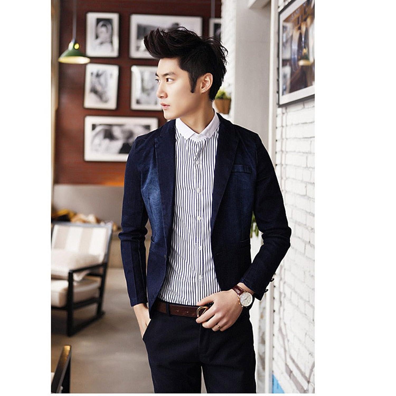 韩版修身牛仔西装男士西服薄款男装外套dz1987图片