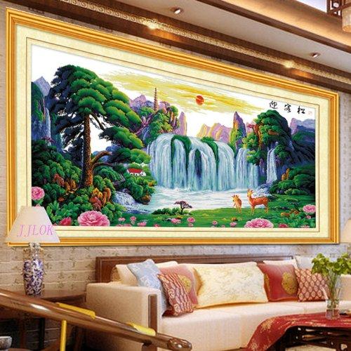 LOK 家家乐十字绣 高清100 精准印花 迎客松福禄版新款客厅大幅包图片