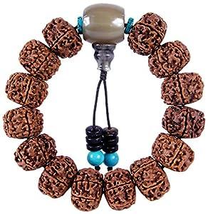 金刚菩提佛珠手串手链男款 藏式六瓣金刚 尼泊尔菩提子牦牛角佛头松石