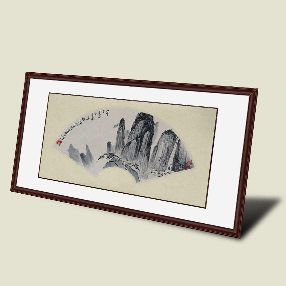 锦翰堂 纯手绘黑白扇形客厅书房装饰画 简约时尚有框画 透明 95*50cm