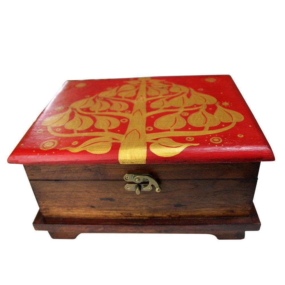 彩绘收纳盒 实木彩绘 大容量 高档品味 木制手工艺 手饰盒子 钱箱子