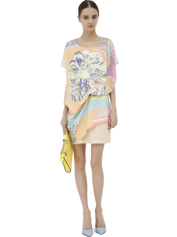 lily 女式 欧式复古t台范儿大印花蝙蝠短袖连衣裙 浅黄 m(160/84a)