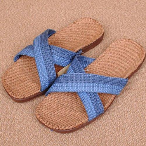 新款 广林牌亚麻拖鞋家居拖鞋 夏季男款凉拖 EVA环保 男士居家室内地板拖鞋 (275(44-45), 蓝色)