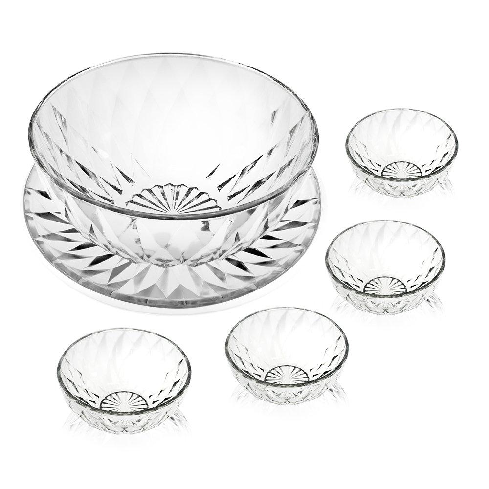 水晶钻石玻璃碗六件套