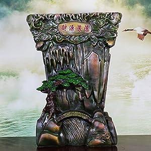 善水 欧式复古流水喷泉工艺品摆设风水轮摆件仿根雕树根落地底座