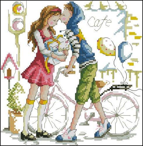 家园 十字绣 客厅卧室 人物画 可爱卡通 轻轻的吻 14ct rs线 2股图片