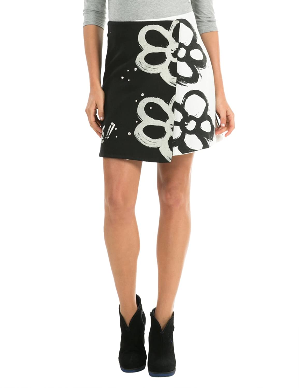 Desigual Women's Woven Skirt with Daisy Print-鏈嶉グ绠卞寘-浜氶┈閫婁腑鍥?娴峰璐?缇庝簹鐩撮偖