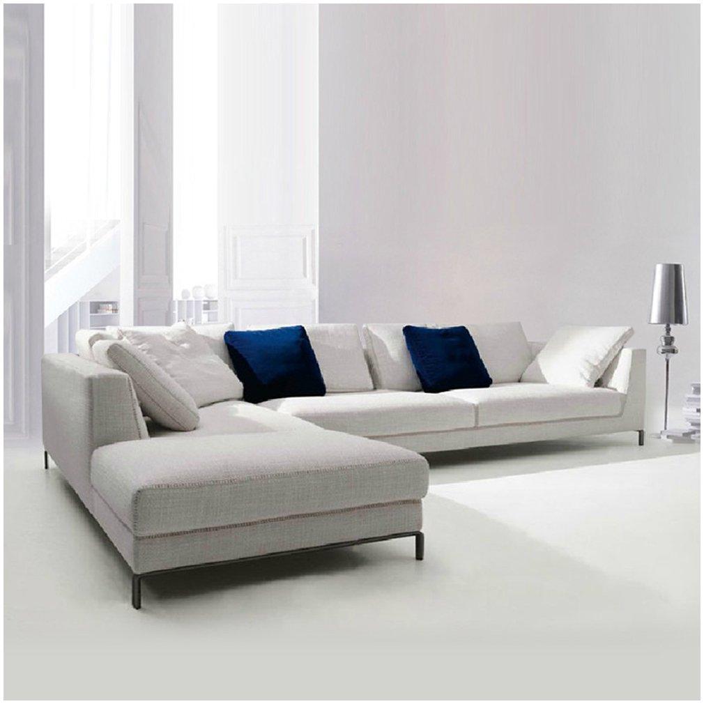 布艺沙发组合套装沙发 简约现代客厅转角小户型沙发s7072 (浅灰色, 3.