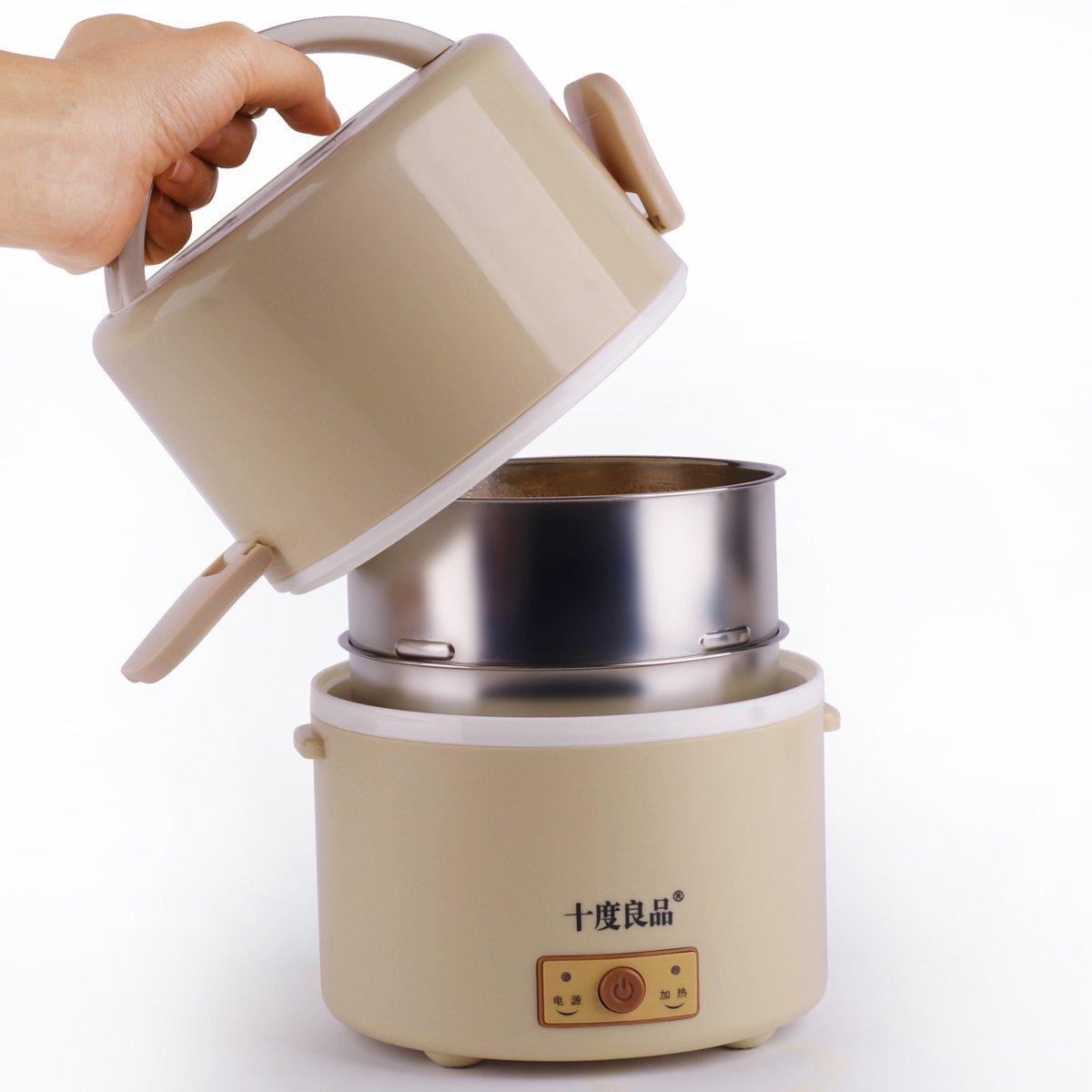 十度良品电热饭盒不锈钢内胆 加热饭盒 保温插电饭盒蒸饭器sd-922