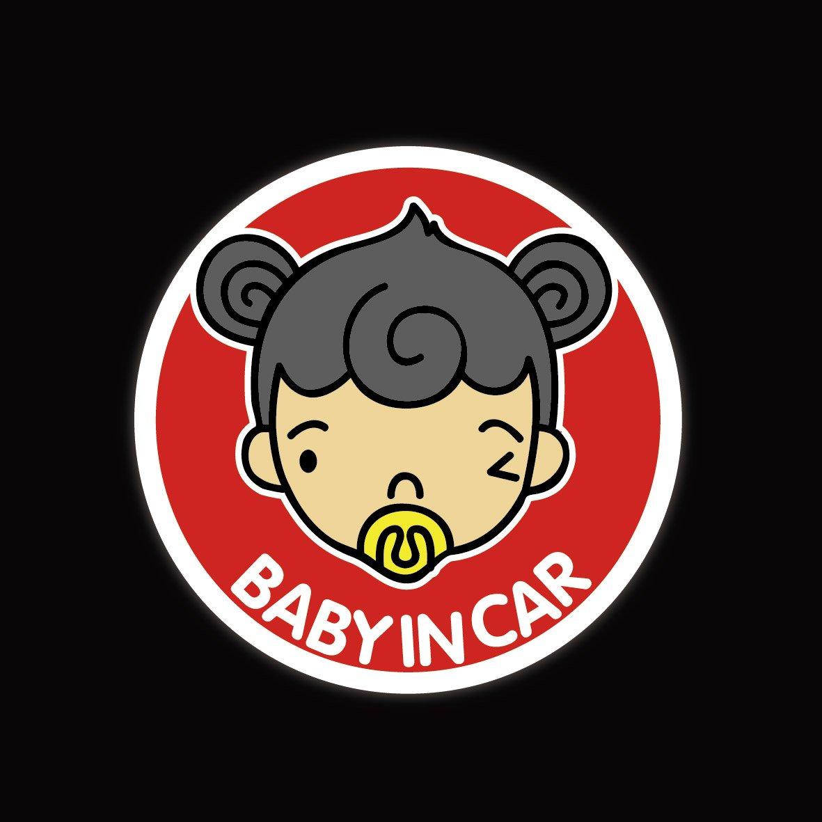 ky 卡艺 汽车贴纸 反光警示贴 女孩 baby in car 搞笑可爱卡通 个性