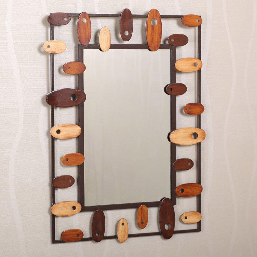 果漫后现代铁艺长方形浴室镜子 装饰镜 玄关镜 梳妆镜子(含镜面)