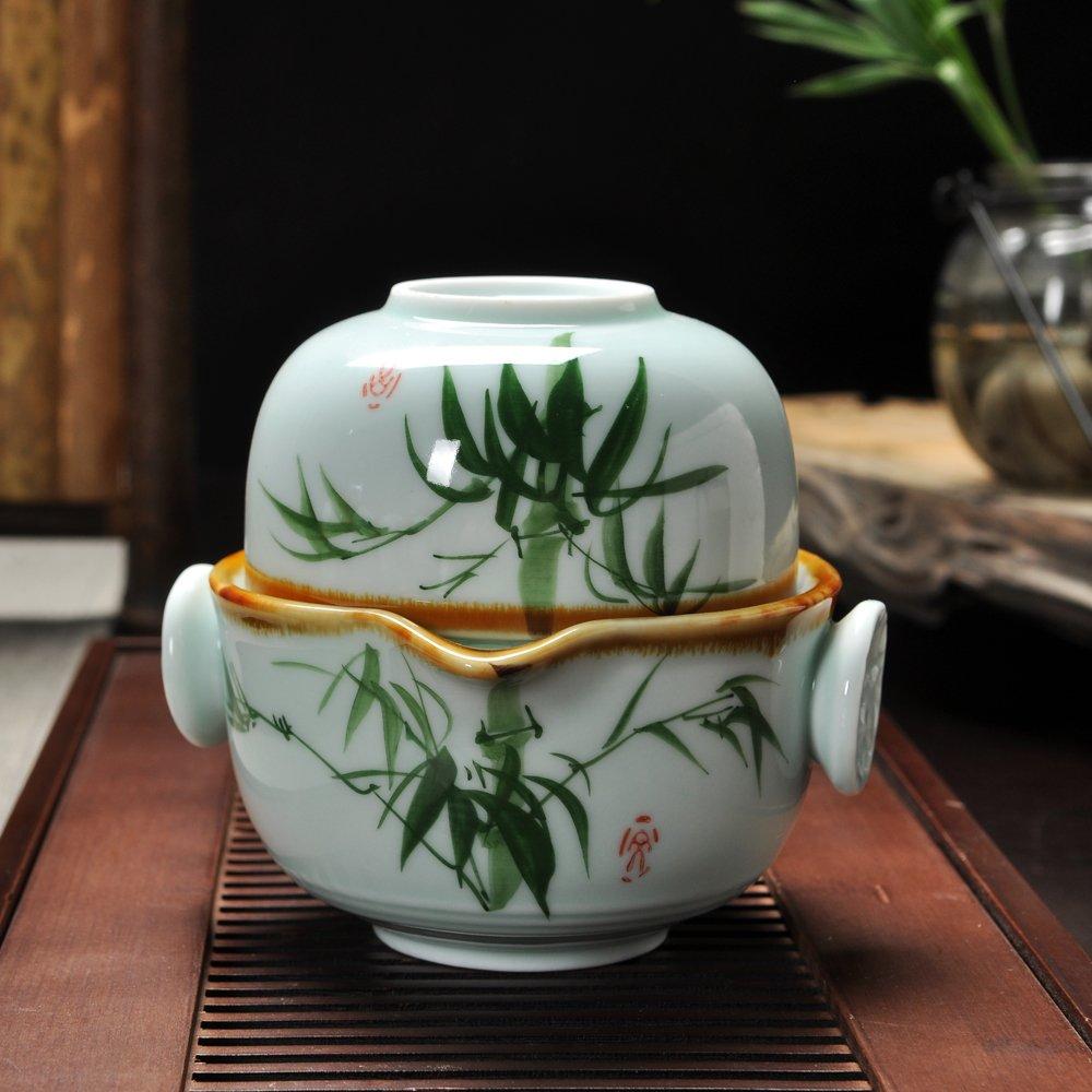 汉道手绘五彩青瓷便携茶具 一壶一杯 个人茶饮设计  遵循传统工艺