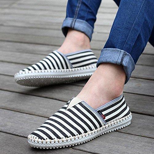 春夏 男式休闲鞋 手工帆布鞋 条纹套脚男鞋子 潮鞋