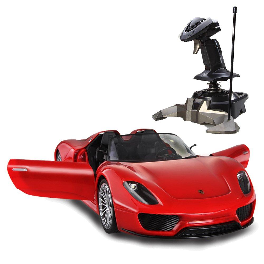 美致 保时捷918大方向盘遥控车重力感应充电遥控汽车儿童玩具车 红色