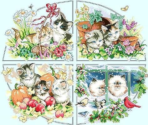 客厅动物画 四季小猫图片