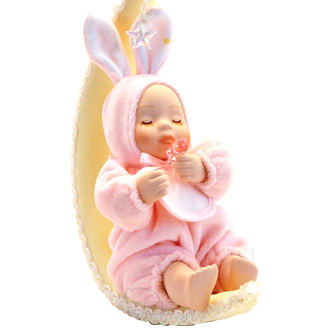 爱心兔月亮船动态娃娃音乐盒八音盒创意礼品生日礼物