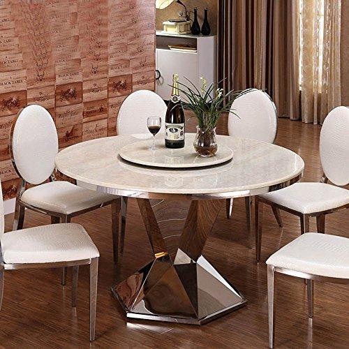 商品全程人生 餐桌椅组合 现代简约不锈钢圆桌 小户型大理石餐桌 1.