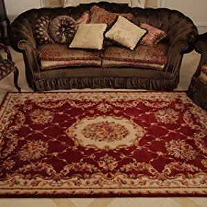 卧室 床边毯 欧式复古高档别墅 客厅地毯茶几 红欧式洛可可客厅地毯