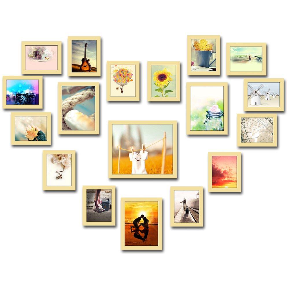 润格 心型照片墙现代创意组合 精美相框墙组合婚纱照照片墙 大型相片