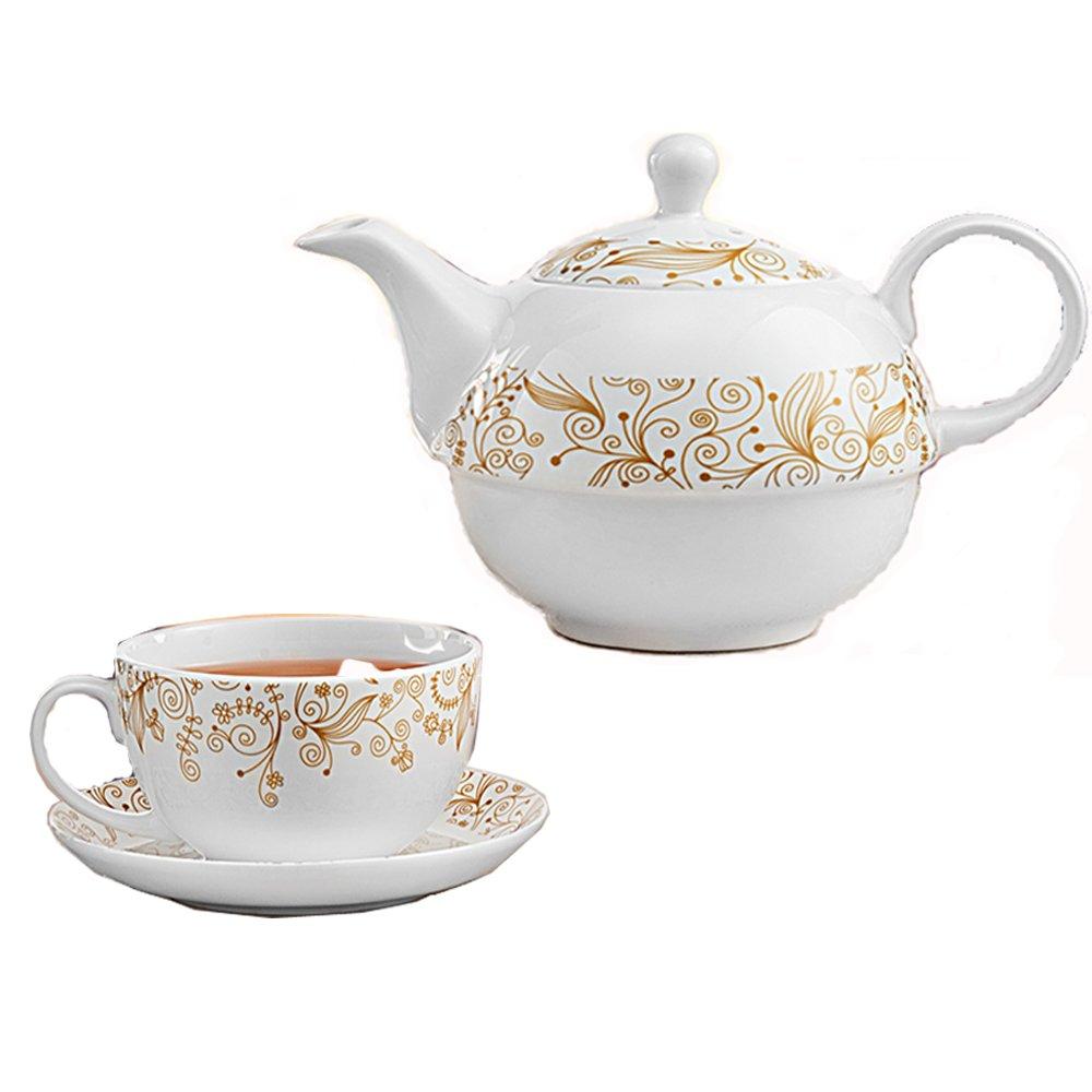 吴裕泰茶具 英式下午茶宫廷花纹套组 400ml*1茶壶 1茶杯 1茶碟 茶具