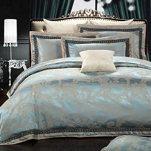 Sunfue 夏菲雪 欧式贡缎大提花四件套床上用品婚庆丝棉床品套件 2.0m(6.6英尺)床 巴塞罗