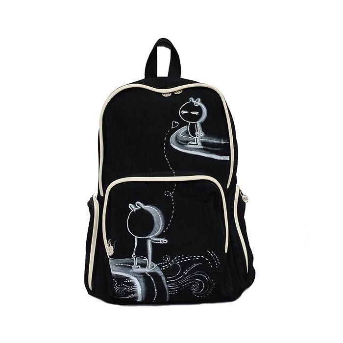 双肩包韩版双肩旅行包双肩背包手绘棉布