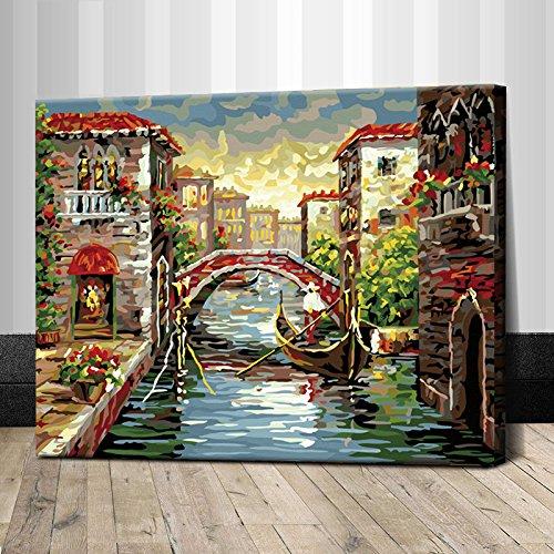 真心意diy数字油画欧式风景人物填色画系列 (40x50, 小城之春-b)