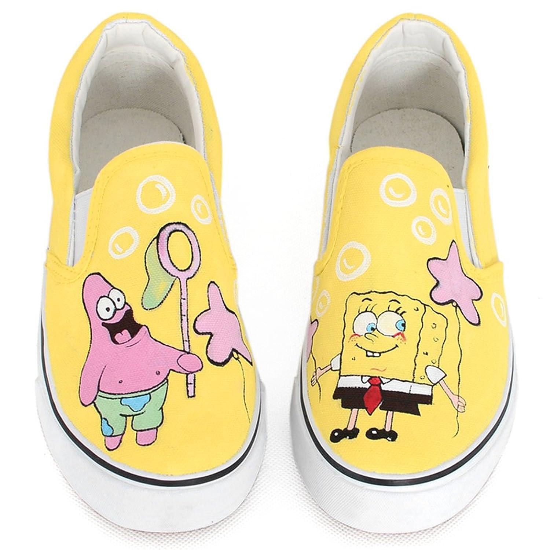 卜丁 个性手绘鞋卜丁手绘图案黄色低帮无带女鞋套脚鞋帆布鞋春平底