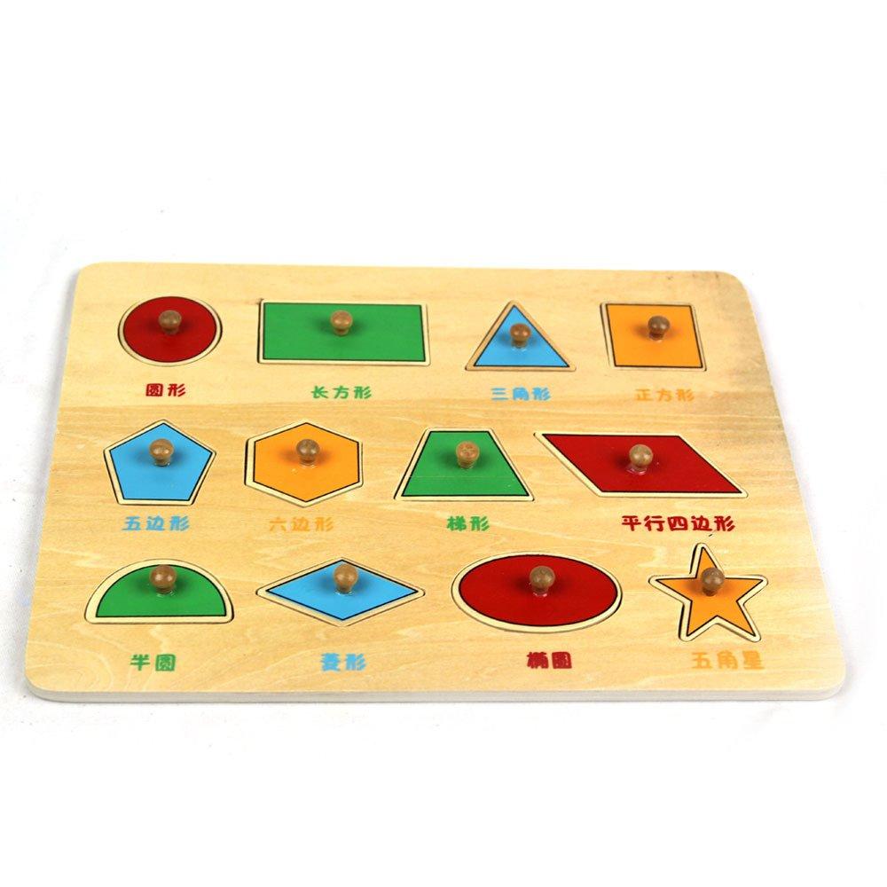木童木制彩色形状拼图拼板立体积木早教学习手抓形状星空 拼图