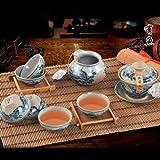 Snowwolf 雪狼 手工彩绘 青花陶 年年有鱼 古陶 茶具 套装 青花瓷古陶茶壶 HT-图片